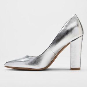 DV • Silver Brie block heels